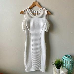 Yigal Azrouel White Cold Shoulder Bodycon Dress